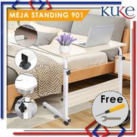 Meja Laptop Roda / Meja Laptop Lipat Portable Standing Desk Adjustable - Hitam