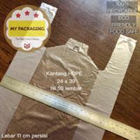 Kantong Plastik Kresek Ukuran 24cm Bening Buram Bintik Tipis 50 lembar