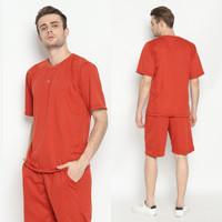 Hoodieku Short Sleeve Sweatshirt Merah Bata - Pria - M