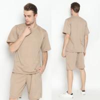 Hoodieku Short Sleeve Sweatshirt Pria - Coklat Muda - M