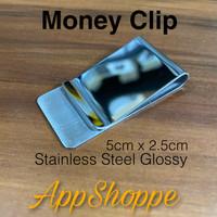 Money Clip Stainless Steel Penjepit Uang Klip GLOSSY 5cm x 2.5cm