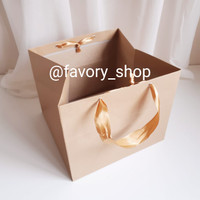 Paper Bag Kraft Coklat / Shopping Bag / Tas Kertas Persegi 24x24x20