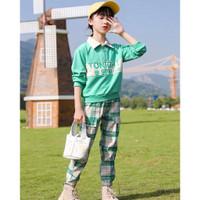 setelan sweater celana panjang joger anak perempuan cewe import 8 10th - 130.green