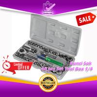 """Kunci Sok Shock Soket 40Pcs Set Tool Box dengan 1/4"""" Rachet Handle"""