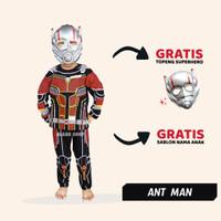 Baju Anak Ant Man Setelan Kostum Superhero Cosplay Topeng - 1-2 Tahun