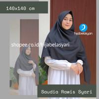 Jilbab Saudia Rawis Jumbo - Jilbab Segi Empat Polos Syari Hijabela - Hitam