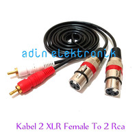 Kabel 2 XLR Female Pin 3 To 2 Rca Gold Plate L/R 0,5 Meter