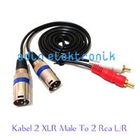 Kabel 2 XLR Male Pin 3 Cabang To 2 Rca L/R Gold Plate 0,5 Meter - 0,5 Meter