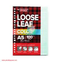 Kertas Binder Note Loose Leaf A5 isi 100 Warna Biru Pastel 20 Lubang