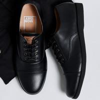 OXFORD FULL BLACK |ManNeedMe x Monday| Sepatu Pantofel Pria Formal ORI - Full Hitam, 39