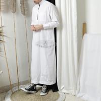 jubah pria lengan panjang Baju gamis pria lengan panjang putih - Putih, M