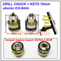 Kepala Bor / Drill Chuck 0,6 - 6 mm + Kunci 10 mm