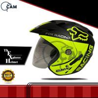 Helm 2 kaca Fox black doff yellow DMN