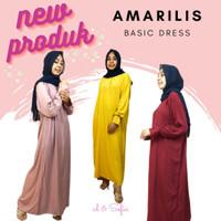 Dress Muslim Amarilis Homedress Gamis Tangan Kerut Bahan Rayon Twill