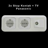 2x Stop Kontak + TV + Frame Kosong Wide Series Panasonic