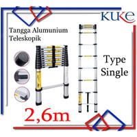 Tangga Lipat Aluminium Teleskopik 2.6M Single Telescopic Ladder 2.6M