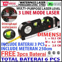 Fixit Level Pro 3 Penggaris Laser Waterpass Meteran Alat Ukur Ruler Ok