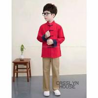 Baju Setelan Cheongsam Imlek CNY Anak Laki Laki Merah