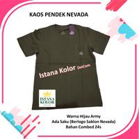 Kaos Pendek Polos Warna HIJAU ARMY Kantong Oblong T-Shirt Nevada