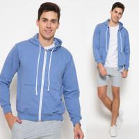 Hoodie Zipper Lifestyle [UNISEX] SOFT BLUE - Biru Muda, S
