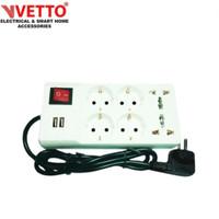 Vetto stop kontak V8206 R7 3M universal SNI & 2x 2.1A USB 3.0
