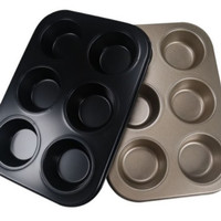 Loyang kue pastry non stick loyang 6 cup muffin pan teflon - gold
