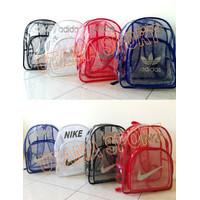 Tas Ransel Adidas Nike Transparan Bening u/ Olahraga Gym Renang dll