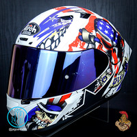 AIROH HELM VALOR UNCLE SAM MATT + IRIDIUM |BLUE RED DOFF| DOUBLE VISOR
