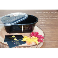 NEW Thinwall HITAM 1000 ml OVAL Container Microwaveable