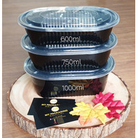 NEW Thinwall HITAM 600 ml OVAL Container Microwaveable