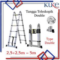 Tangga Lipat Aluminium Teleskopik 5M Double Telescopic Ladder 5M