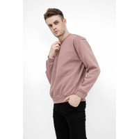 sweater basic lengan panjang baju sweater tebal dusty pink