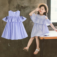 dress anak import model korea - Biru Muda, S