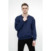 sweater basic lengan panjang baju sweater tebal biru dongker
