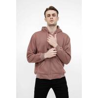 Jaket Polos Hoodie Zipper Sweater Warna dusty pink