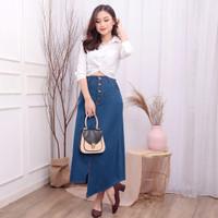 Myredo - Rok Jeans Panjang Wanita Slit Model Asimetris Willnie