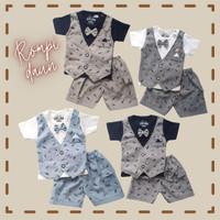 Baju Setelan Pesta Anak Bayi Laki-laki Kaos Rompi Katun Daun 3-12bulan