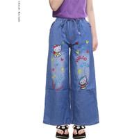 Celana Kulot Anak / Celana Panjang Jeans Motif Bordir
