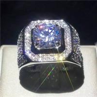 Cincin Silver Hias Safir kado hadiah Elegan mewah cincin pria wanita