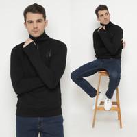 Hoodieku Sweatshirt HalfZip Turtleneck Hitam Pria - XL