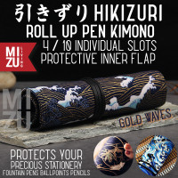 MIZU HIKIZURI Gold Pen Kimono Roll Up Pencil Case Tempat Pen Gulung
