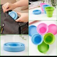 Cup Silikon gelas lipat portable foldable travel cangkir minum tarik A