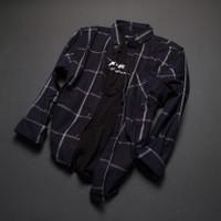 ✓kemeja flanel pria lengan panjang premium pola slim fit shirt 001 - M