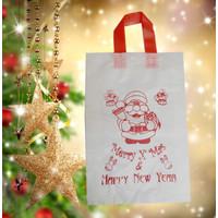 Tas Natal Santa Claus Christmas Wadah Souvenir Plastik Putih Tanggung
