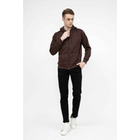 Houseofcuff Jaket Polos Hoodie Zipper Sweater Warna Cokelat - Cokelat, M