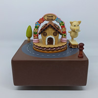 Music Box Wooden Candy House with Skateboard Piggy Style