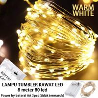 Lampu Natal LED Kawat Tembaga 80 LED Batre/Baterai A2 8 Meter