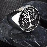 Cincin Silver motif pohon kehidupan punk gothic cincin pria wanita