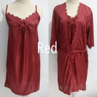 piyama baju tidur kimono tricot dewasa wanita sexy - Red