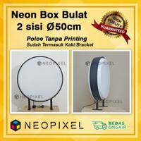NEON BOX BULAT AKRILIK DIA 50 CM 2 SISI LED BOX BULAT POLOS MURAH
